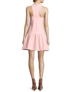 Leila Sleeveless Drop-Waist Short Dress, Pink