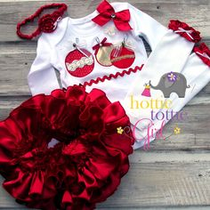 """SALE Sweet N Sassy Red Satin Ruffle Bloomer Skirt Set """"Holly Jolly Christmas"""" Bows, Bells & Appliqué Ornaments Holiday Newborn, Toddler Ruffle Apron, Ruffle Bloomers, Christmas Applique, Christmas Bows, Elephant Size, Outfits With Hats, Newborn Outfits, Red Satin, Dress With Bow"""