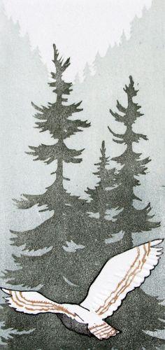 """Original Woodblock Print - """"The North Wind"""". Zou prachtig passen bij het sprookje """"de bloedende zwaan"""" van Jeanne Otherdahl"""
