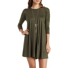 Charlotte Russe Olive Dropped Shoulder Trapeze T-Shirt Dress by... ($25) ❤ liked on Polyvore featuring dresses, olive, swing dress, jersey t shirt dress, 3/4 sleeve dress, shirt dress and tshirt dress