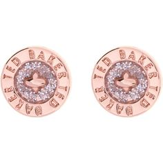 Ted Baker Tempany Enamel Button Stud Earrings , Rose Gold/Pink Glitter (50 CAD) ❤ liked on Polyvore featuring jewelry, earrings, engraved jewelry, glitter earrings, rose gold stud earrings, stud earring set and glitter jewelry