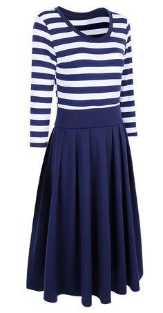 Casual Stripes Half Sleeve Pleated Dress