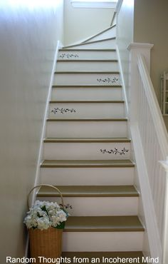 Random thoughts from an incoherent mind: Tour Our Cottage Home, floral painted stairs