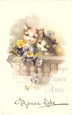 Kittens Cats & Pansy Flowers Antique French Chromolithograph Postcard Post Card from Vintage Paper Attic
