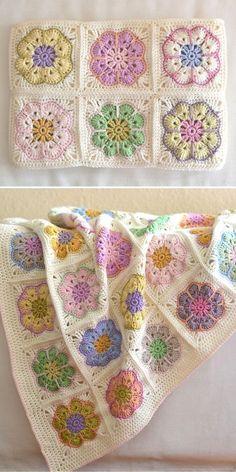 Crochet Flower Squares, Crochet African Flowers, Granny Square Crochet Pattern, Crochet Flower Patterns, Afghan Crochet Patterns, Crochet Motif, Crochet Flowers, Free Crochet Square, Cute Crochet