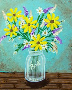 Country Bouquet: Here are some flowers that will last for years! This rustic, country bouquet is sure to bring smiles for many months and years to come. Canvas Painting Designs, Canvas Designs, Paint Designs, Diy Painting, Painting & Drawing, Flower Painting Canvas, Heart Painting, Flower Canvas, Diy Canvas