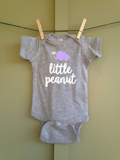 Little Peanut Infant Onesie Elephant White Gray by VinylVibesShop