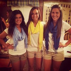 Alpha Xi Delta recruitment outfits.  Loving the scarves!