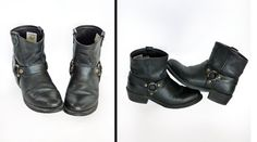 ankle HARNESS boots / us women's size 8 W / by JeezumCrowVintage #blackankleboots #blackboots #ankleharnessboots