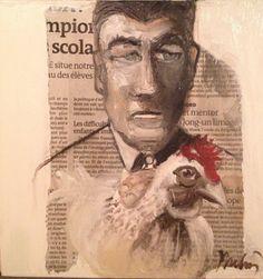"""Entre ma poule et moi.....huile sur bois20x20 vente sur etsy dans ma galerie virtuelle """" commeunprintemps"""" Painting, Oil, Painting Art, Paintings, Painted Canvas, Drawings"""