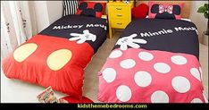 Mickey Mouse bedroom ideas - Minnie Mouse bedroom decorating - Mickey Mouse bedding - Minnie Mouse Bedding - Mickey Mouse wall decals - Mickey Mouse Comforters - Disney bedding - Disney home decor - Mickey & Friends Mickey Mouse Bett, Mickey Mouse Wall Decals, Mickey Mouse Room, Mickey Mouse Comforter, Disney Bedding, Boy And Girl Shared Bedroom, Bedroom Themes, Bedroom Ideas, Disney Bedrooms