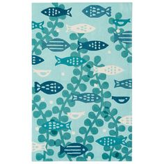 Youth Coastal Pattern Blue Polyester Area Rug (5x7.6)