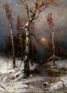 oldoils:  Sunset in a Winter Forest - Julius von Klever (1904) oil on canvas