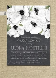 Chalkboard Floral Bridal Shower Invitation Black & White Anemones Classic Elegant Wedding Invite Printable Digital or Printed - Leona Style