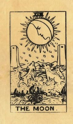 The origins of the Tarot are surrounded with myth and lore. The Tarot has been thought to come from places like India, Egypt, China and Morocco. Others say the Tarot was brought to us fr The Moon Tarot Card, Tarot Card Tattoo, Tarot Card Spreads, Tarot Card Meanings, Tarot Decks, Moon Child, Stars And Moon, Sun Moon, Occult
