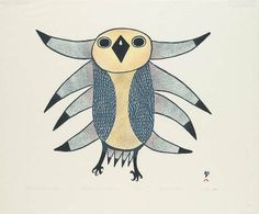 Owl in Winter Light by Lucy Qinnuayuak 1982 colour stonecut & stencil on paper