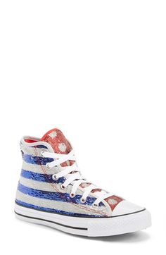 Converse+Chuck+Taylor®+All+Star®+Sequin+Flag+High+Top+Sneaker+(Women)+available+at+#Nordstrom