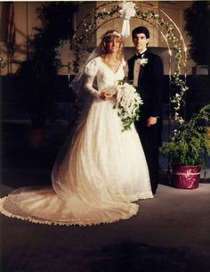 Guy Penrod and his wife Angie on their wedding day...before the long hair and the eight kids!