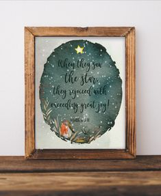 """You are going to love this beautiful bible verse Christmas digital art, """"When They Saw The Star They Rejoiced With Exceeding Great Joy"""" Matthew 2:10. Get yours today! www.etsy.com/listing/763238235 Christmas Wall Art, Christmas Star, Christmas Bible Verses, Matthew 2, Star Quotes, Star Art, Digital Art, Joy, Stars"""