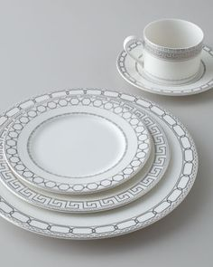 "Love the pattern trad and modern.Five-Piece ""Calista"" Dinnerware Place Setting  by Mikasa at Horchow.#horchow"
