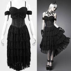 Sexy Black High Low Long Gothic Burlesque Wedding Evening Party Dress SKU-11402315