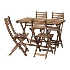 IKEA - ASKHOLMEN, Tisch+4 Stühle/außen, , Tisch und Stühle lassen sich zusammenklappen und sind auf kleinem Raum leicht zu verstauen.Zur Erhöhung der Haltbarkeit und damit die natürliche Holzstruktur sichtbar bleibt, wurde das Möbelstück mit einer Schicht halbtransparenter Holzlasur vorbehandelt.