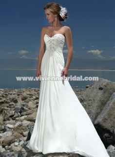 Flowy wedding dress.