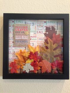 Autumn Shadow Box ❤️ Halloween Shadow Box, Fall Halloween, Halloween Crafts, Harvest Crafts, Diy Crafts Vintage, Diy Shadow Box, Creative Arts And Crafts, Fall Projects, Frame Crafts