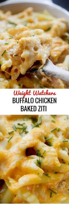 Buffalo Chicken Baked Ziti - Weight Watchers # Food and Drink healthy buffalo chicken Buffalo Chicken Baked Ziti - Recipe Diaries Skinny Recipes, Ww Recipes, Cooking Recipes, Healthy Recipes, Casseroles Healthy, Pork Recipes, Recipies, Skinnytaste Recipes, Dinner Recipes
