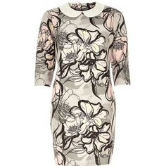 River Island Grey floral jacquard shift dress (1.845 RUB) ❤ liked on Polyvore featuring dresses, grey, sale, women, floral dress, evening dresses, floral shift dress, floral evening dresses and grey cocktail dress