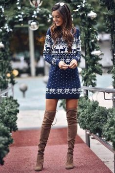 charming christmas outfit ideas that can you copy right now page 9 Best Christmas Sweaters, Christmas Sweater Dress, Christmas Party Outfits, Christmas Fashion, Winter Christmas, Christmas Outfits For Women, Christmas Morning Outfit, Red Christmas Dress, Reindeer Christmas