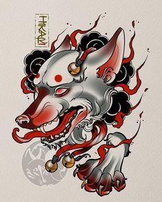 Nice kitsune art design done by Oni Tattoo, Tattoo Uk, Japanese Tattoo Artist, Japanese Tattoo Designs, Japan Tattoo Design, Tattoo Maker, Chinese Drawings, Traditional Japanese Tattoos, Asian Tattoos