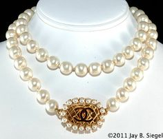 """CHANEL 29"""" Faux Pearl Quilted CC Clasp Necklace"""