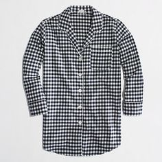 Factory flannel pajama shirt in navy gingham - Sleepwear - FactoryWomen's Shop By Category - J.Crew Factory