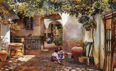 The Athenaeum - Patio with Children (Manuel Garcia y Rodriguez - )