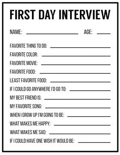 All About Me Printables {Interview Template}   Paper Trail Design