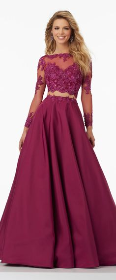 2017 New Fashion Two Piece Long Sleeves Prom Dress Lace Satin Formal Gown #promdress #promgown #prom #prom2017 #gown #burgundy #evening #eveninggown