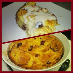 Croissant bread pudding w/ dried cherries and topped with an amaretto cream sauce (adapted from Giada's panattone bread pudding recipe - linked).