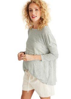 a3a77322234 Linen Longsleeve Tee- Comfortable Maternity Top