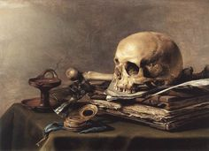 """""""Vanitas Still Life"""" by Pieter Claesz  This is a still life (literally, a life that is now still/dead) with narrative, perhaps personal. For Muuhito!"""
