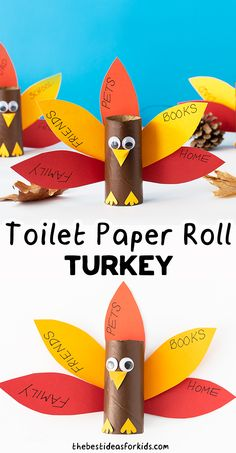 Toilet Paper Roll Turkey - make this thankful turkey craft for Kids for Thanksgiving! An easy preschool or kindergarten craft!
