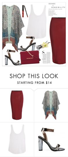 """Burgundy Skirt"" by biange ❤ liked on Polyvore featuring Frame Denim and MICHAEL Michael Kors"