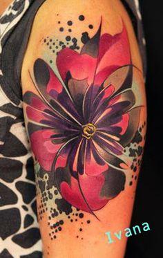 fractal modern flower tattoo
