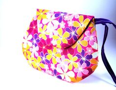 Small Pink Clutch Purse With Colorful Flowers by TrampLeeDesigns, $16.00