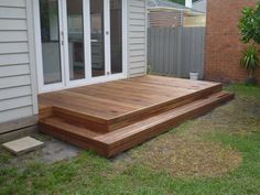 Image result for small composite deck designs Patio Steps, Patio Diy, Diy Deck, Cozy Backyard, Small Backyard Landscaping, Backyard Ideas, Mulch Landscaping, Landscaping Ideas, Small Outdoor Patios