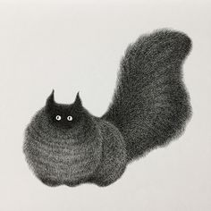 Kitty No.20. 14 Furry Cats and 1 Furry Monkey Drawings. By Kamwei Fong.