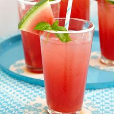 Lime juice, watermelon, and basil combine to make a refreshing drink, perfect for a summer cookout.