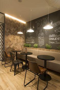Panaderia y cafeteria Artespa en Castellón. Coffee Shop Interior Design, Industrial Interior Design, Coffee Shop Design, Cafe Design, Cafeteria Decor, Cafeteria Design, Industrial Coffee Shop, Industrial Cafe, Cafe Restaurant