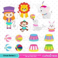 Circus Series 3: 57 Graphics ----------------------- ★★ Package Included ★★----------------------------------- *You will received a total of 57 Files in PNG Format with TRANSPARENT background, Size of 6~7 Inches at tallest/widest point of 300 DPI resolution. *8 Main Characters *