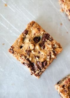 Chickpea blondies made with peanut butter, banana and protein powder. These are a great healthy treat. Grain free, gluten free, and dairy free!